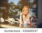 young woman in city cafe.drink... | Shutterstock . vector #433600537