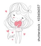 beautiful girl with a heart | Shutterstock .eps vector #433606057
