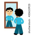 the boy looks in a mirror. clip ... | Shutterstock .eps vector #433610923