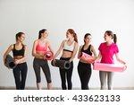 group after aerobics class. | Shutterstock . vector #433623133