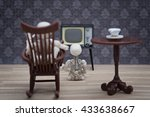 a skeleton in a rocking chair... | Shutterstock . vector #433638667