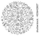 coffee vector set. line many... | Shutterstock .eps vector #433642807