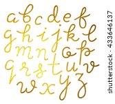 gold foil hand drawn alphabet | Shutterstock .eps vector #433646137
