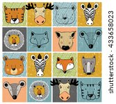 set of forest animals tiger elk ... | Shutterstock .eps vector #433658023