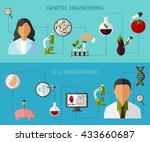 biotechnology colored banners... | Shutterstock .eps vector #433660687