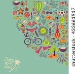 summer doodles design  travel... | Shutterstock .eps vector #433661917