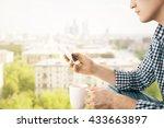 closeup of man on city... | Shutterstock . vector #433663897