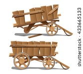 wooden cart isolated on a white ...   Shutterstock .eps vector #433665133