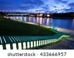 evening landscape with moscow... | Shutterstock . vector #433666957