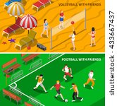 football and volleyball teams... | Shutterstock .eps vector #433667437