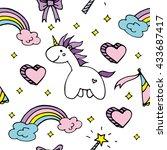 magic vector seamless pattern... | Shutterstock .eps vector #433687417