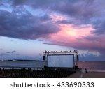 an outdoor cinema at the beach... | Shutterstock . vector #433690333