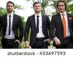 three young men in elegant... | Shutterstock . vector #433697593