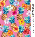 hawaiian seamless pattern with... | Shutterstock .eps vector #433723147