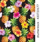 hawaiian seamless pattern with... | Shutterstock .eps vector #433723177
