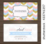 wedding invitation card with... | Shutterstock .eps vector #433741357