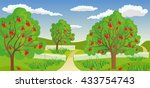 rural landscape with apple tree | Shutterstock .eps vector #433754743