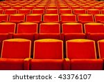 ows of red theatre seats | Shutterstock . vector #43376107
