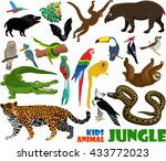 vector set of cute jungle kids...   Shutterstock .eps vector #433772023