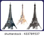 three variants of eiffel tower   | Shutterstock .eps vector #433789537
