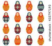 russian dolls matryoshka... | Shutterstock .eps vector #433797193
