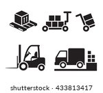 warehouse icons  loading and... | Shutterstock .eps vector #433813417