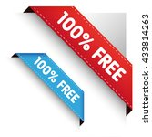 100 percent free corner ribbon | Shutterstock .eps vector #433814263