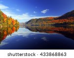 Stock photo autumn forest reflected in water colorful autumn morning in the mountains colourful autumn 433868863