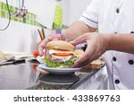 chef cooking and decorated... | Shutterstock . vector #433869763