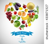 heart of fruits and vegetables... | Shutterstock .eps vector #433871527