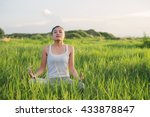yoga woman in the lotus posture. | Shutterstock . vector #433878847