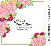 invitation with floral... | Shutterstock . vector #433881607