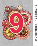 bright numbers. mandala and... | Shutterstock .eps vector #433886143