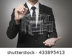 businessman drawing a model of... | Shutterstock . vector #433895413