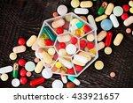 tablets  pills  vitamins  pill... | Shutterstock . vector #433921657