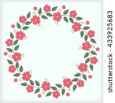 floral wreath on the blue... | Shutterstock .eps vector #433925683