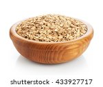wooden bowl with oats isolated... | Shutterstock . vector #433927717