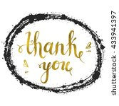 thank you   gold calligraphic... | Shutterstock .eps vector #433941397