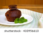 chocolate muffin with mint leaf ... | Shutterstock . vector #433956613