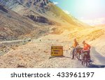 two cyclist standing on... | Shutterstock . vector #433961197