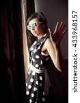 retro girl image   Shutterstock . vector #433968157