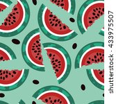 summer pattern with watermelons.... | Shutterstock .eps vector #433975507