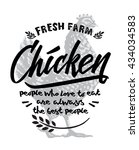 chicken and lettering label... | Shutterstock .eps vector #434034583