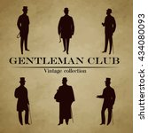 set of male silhouettes retro... | Shutterstock .eps vector #434080093