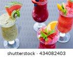 fresh summer smoothie drinks | Shutterstock . vector #434082403