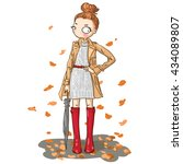 cartoon cute girl with umbrella.... | Shutterstock .eps vector #434089807