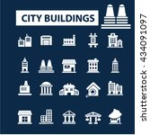 city buildings icons  | Shutterstock .eps vector #434091097