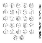 cubic alphabet set. modern 3d... | Shutterstock . vector #434098603