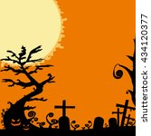 halloween design   house tree... | Shutterstock . vector #434120377