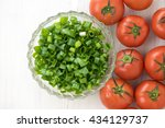 tomatos and chopped green... | Shutterstock . vector #434129737